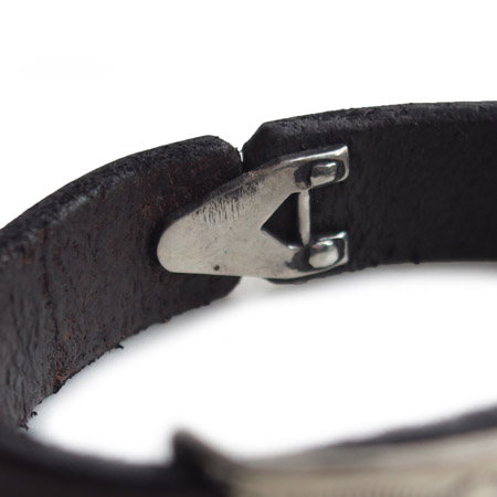 CHAFF DESIGN〔チャフ・デザイン〕Leather Plate On Turquoise Bracelet �