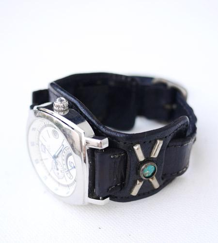 HTC 〔エイチティーシー〕 ウォッチベルト Emboss Police Black Watch Belt / Turquoise Stone