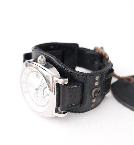 HTC 〔エイチティーシー〕 ウォッチベルト Emboss Police Black Watch Belt / YELLOW-BLACK Glass Stone