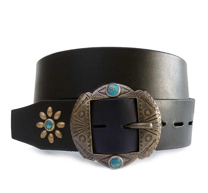 HTC Belt  End Only Flower Brass Buckle Turquoise #3 TQS B / Black