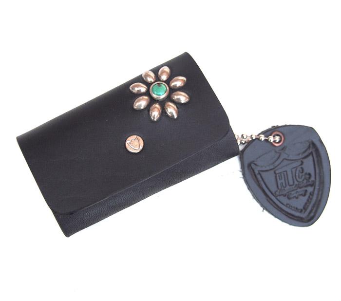 HTC SUNSET Key Case Flower Leather #1 TQS N / Black