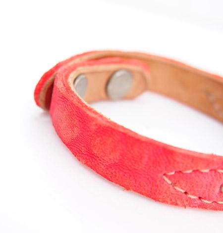 HTC 〔エイチティーシー〕 ブレスレット 別注 Nubuck Leather Turquoise&Round Studs Bracelet / Pink