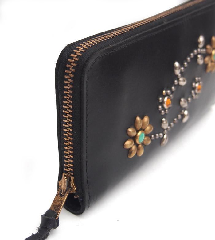 【予約受付】HTC SUNSET Round  Zipper Long Wallet Flower #3 TQS N / Black