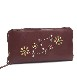 HTC SUNSET Round Zipper Long Wallet Flower #3 TQS N / Brown