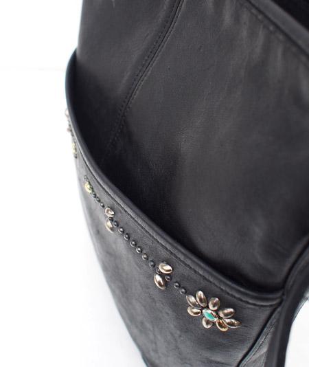 """PANTY Original Design """"OLD COACH"""" Vintage Remake Studs Leather Shoulder Bag / No.5"""
