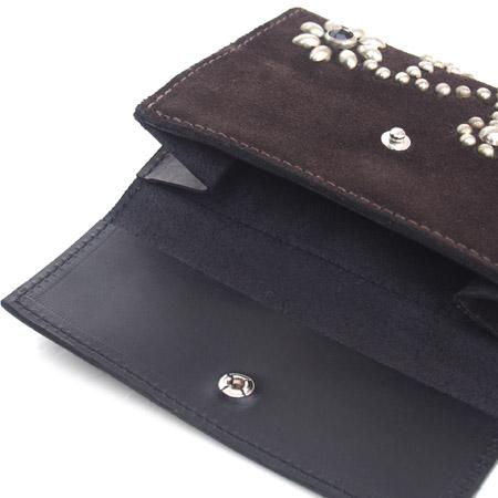 HTC Short Wallet Flower Suede Mix BLACK N / D Brown