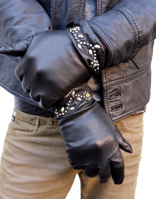 HTC 〔エイチティーシー〕 グローブ Flower Studs Black Leather Glove � / Turquoise Stone