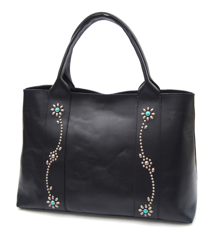 HTC SUNSET Tote Bag Flower Leather #1 TQS N / Black