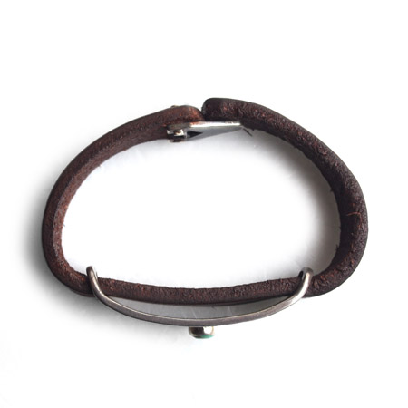 CHAFF DESIGN〔チャフ・デザイン〕Leather Plate On Turquoise Bracelet