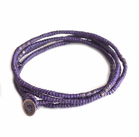 M.Cohen 〔エムコーエン〕 ブレスレット B582S 4レイヤー ワックスコード & シルバータイビーズ/Purple