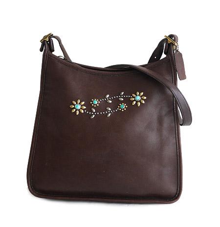 """PANTY Original Design """"OLD COACH"""" Vintage Remake Studs Leather Shoulder Bag / No.22"""