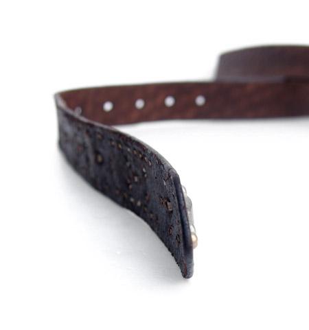 HTC 〔エイチティーシー〕ベルト Emboss Police Brown Studs Belt / Black&Yellow Stone