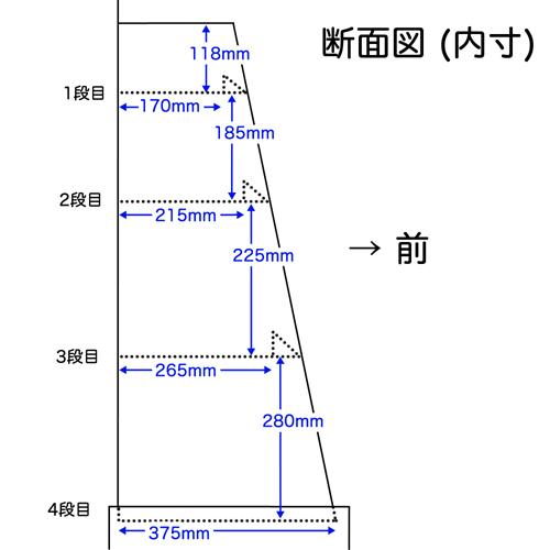 4段フロア什器 棚タイプ(W600*D400*H1600)