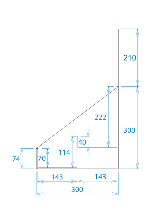 卓上什器ひな壇2段(W350*D300*H510)
