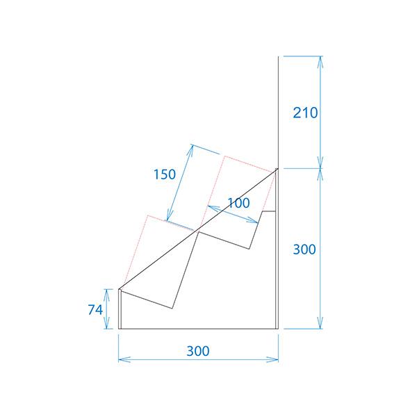 フロア什器斜めひな壇2段(W315*D314*H1335)