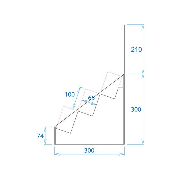 フロア什器斜めひな壇3段(W415*D314*H1335)