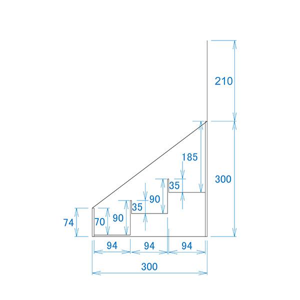フロア什器ひな壇3段(W465*D314*H1335)