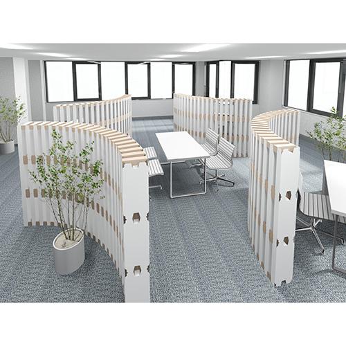 オフィスパーテーション 1/4円 4段タイプ