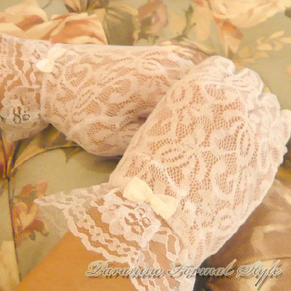 DM便送料無料/ フォーマル グローブ レース ショートグローブ リボン付き 女の子 ホワイト ピンク ピーチ