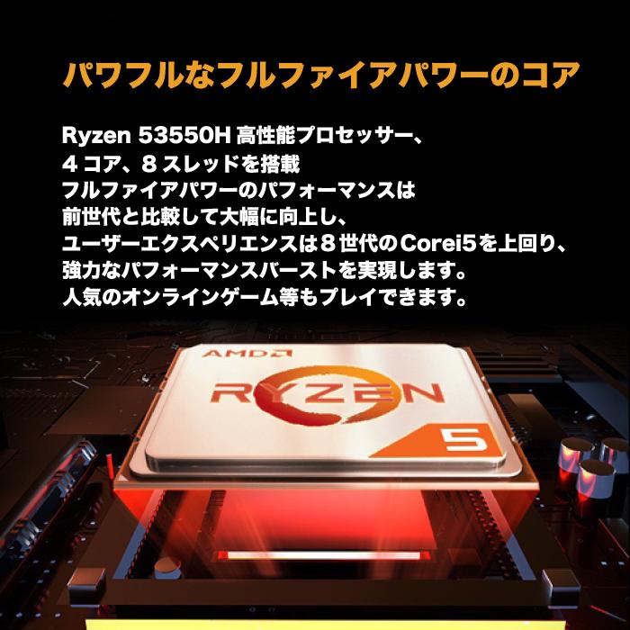 ミニパソコン 新品 ミニデスクトップPC リビングPC AMD Ryzen5 3550H(2019年モデル) 2.1GHz 4コア 8スレッド メモリ8GB 新品SSD120GB M.2 2280 SATA3.0 4K出力対応 Radeon Vega 8 無線LAN付き Bluetooth Windows10Pro