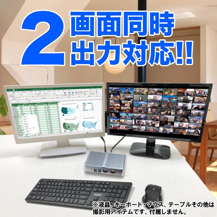 ミニパソコン 新品 ミニデスクトップPC リビングPC Intel Celeron 2955U 1.4GHz メモリ4GB 新品SSD128GB Windows10Pro USB3.0 フルHD 1080p HDMI VGA 縦置き可能 2画面出力 小型パソコン