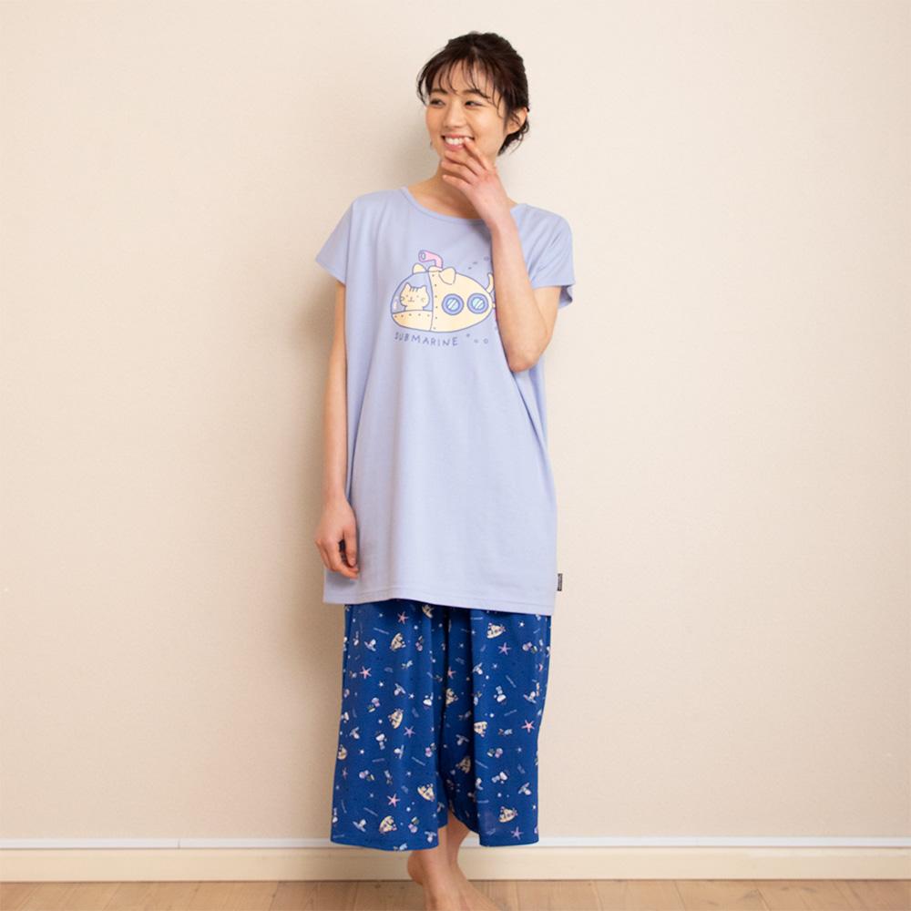 FukuFukuNyanko リゾート涼感7分パンツ