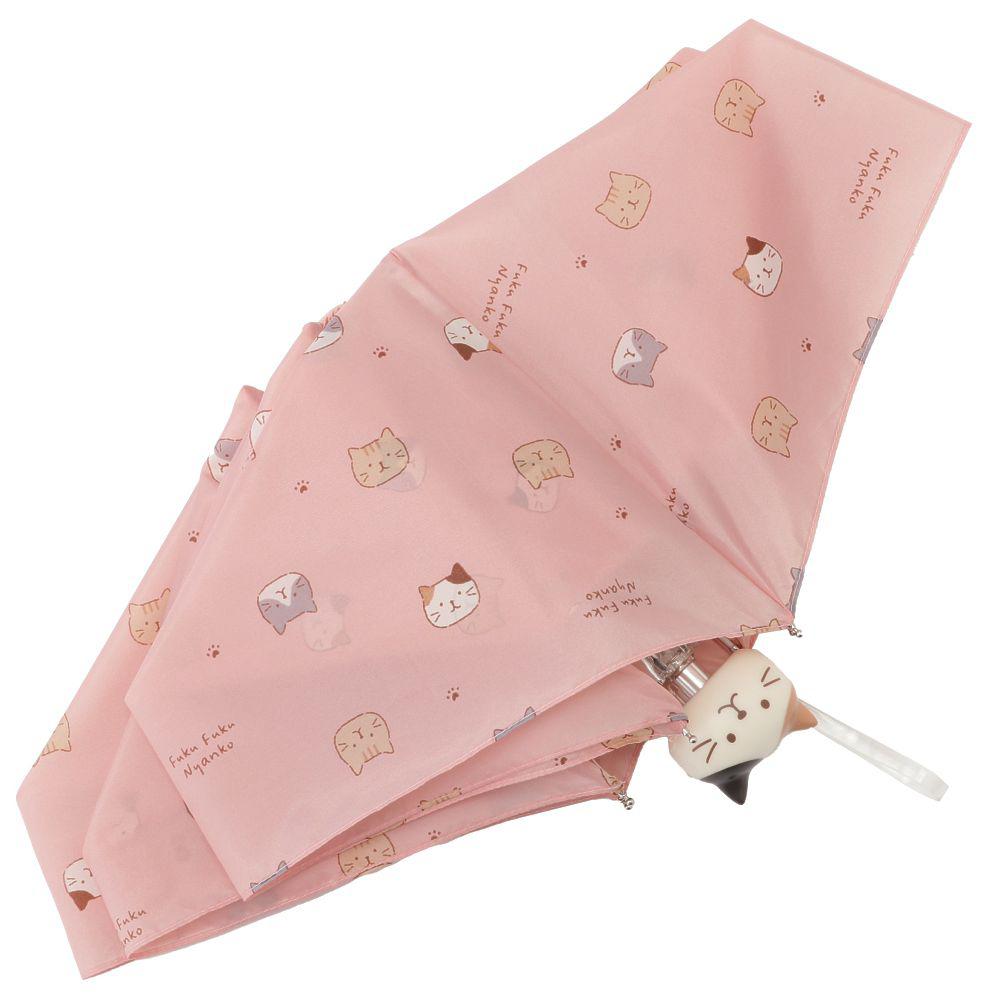 FukuFukuNyanko フェイス持ち手折り畳み傘
