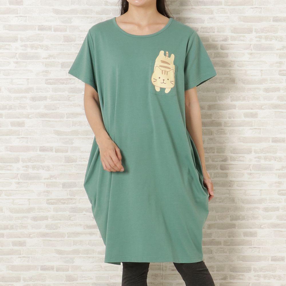 FukuFukuNyanko ポケット付きコクーンTシャツ