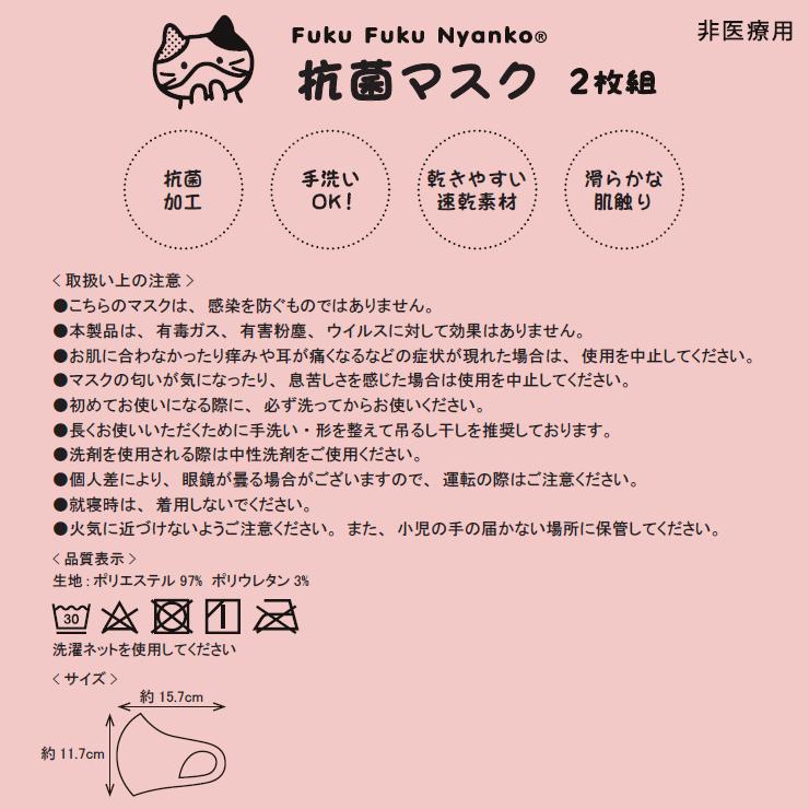 FukuFukuNyanko 抗菌キッズマスク(2枚セット)