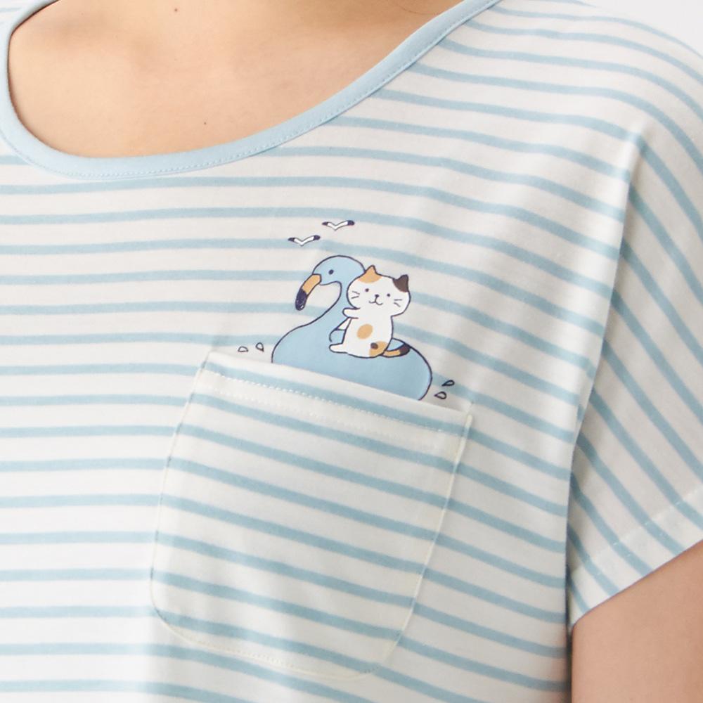 FukuFukuNyankoとろけるボックスTシャツ+腹巻き付きパンツ