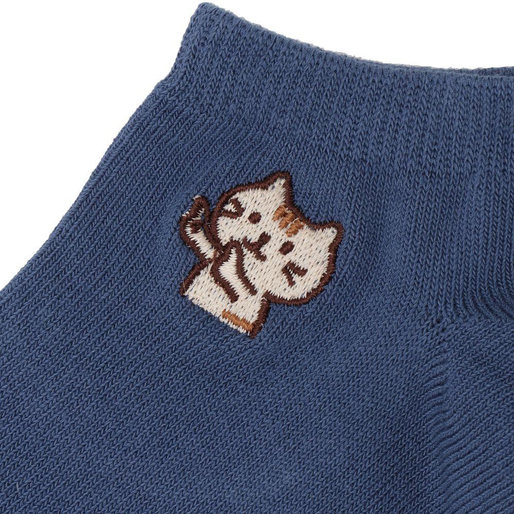 FukuFukuNyanko 刺繍入り高機能スニーカーソックス【3足税込1100円】