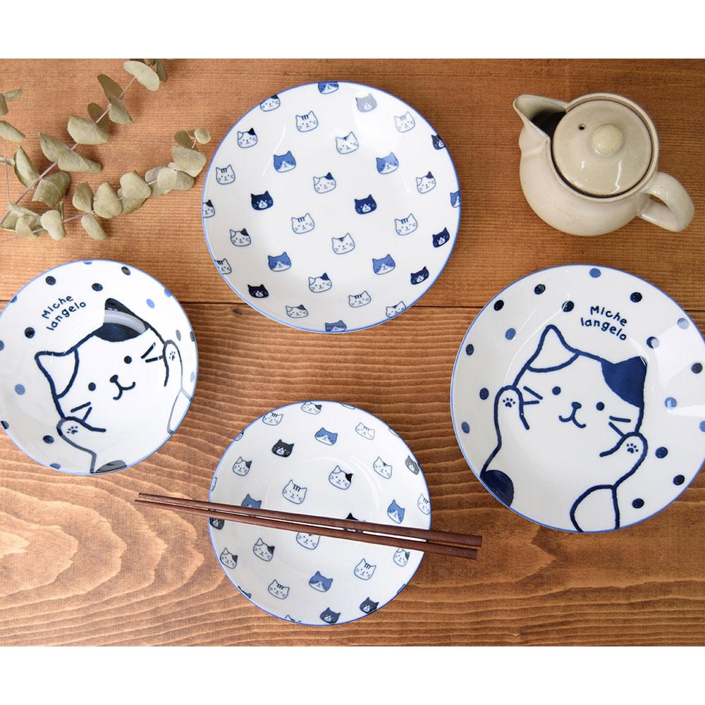 FukuFukuNyanko 軽量藍染茶碗