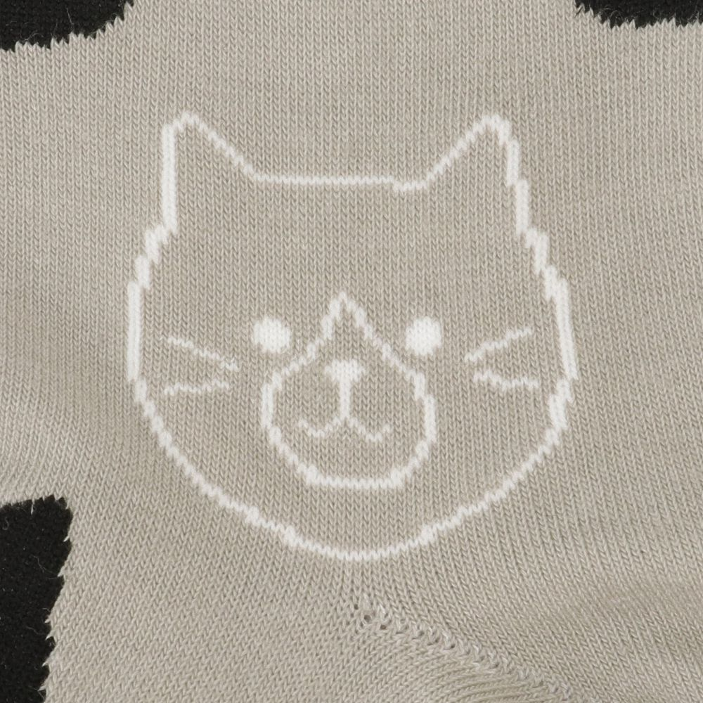 FukuFukuNyanko クルーソックス(総柄)【3足税込1100円】