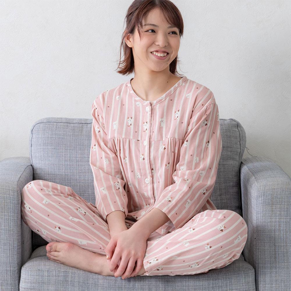 FukuFukuNyanko ダブルガーゼ七分袖パジャマ
