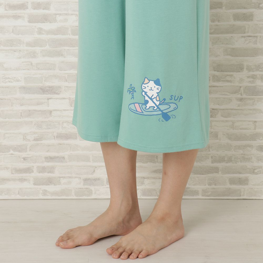 FukuFukuNyanko リゾート裾プリント7分パンツ