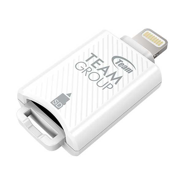 TEAM Mostash MFI認定 Lightning接続 microSDカードリーダー ホワイト|TWG04W01