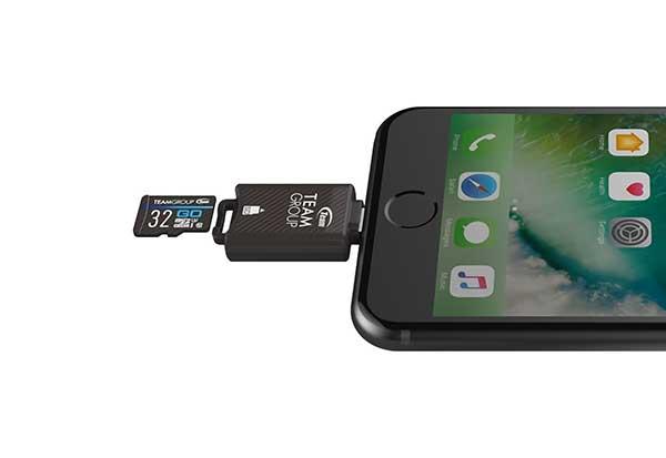 TEAM Mostash MFI認定 Lightning接続 microSDカードリーダー ブラック TWG04B01