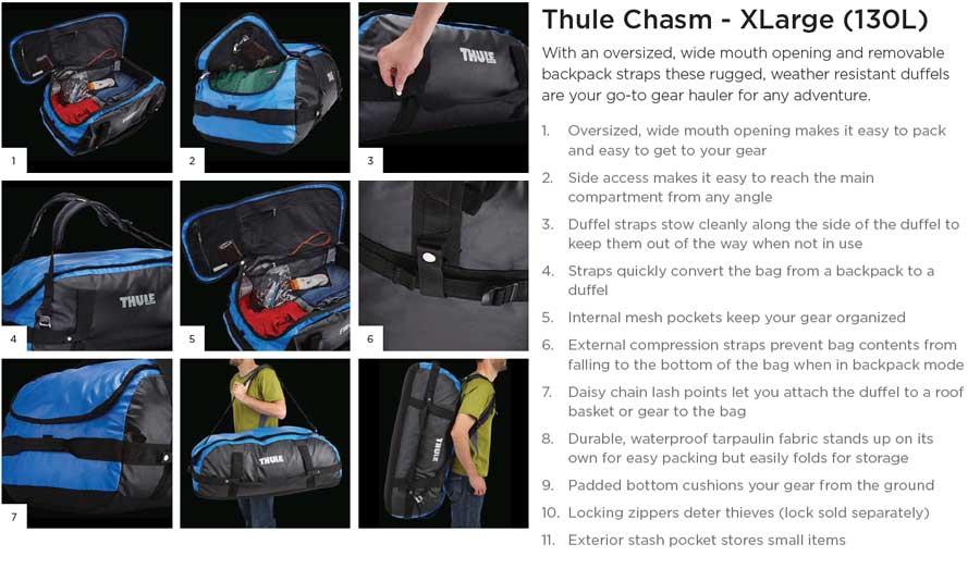 【クリアランス特価】Thule Chasm XL 130リットル ダッフルパック  Zinnia (203600)