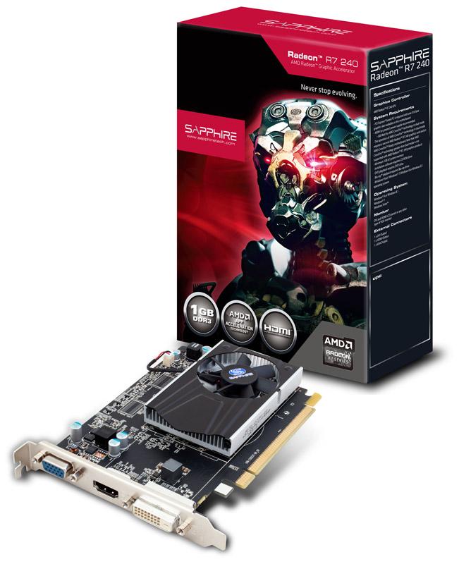 Sapphire R7 240 1G DDR3 PCI-E HDMI / DVI-D / VGA WITH BOOST-64bit (SA-R7240-1GD364BR03/11216-11-20G)