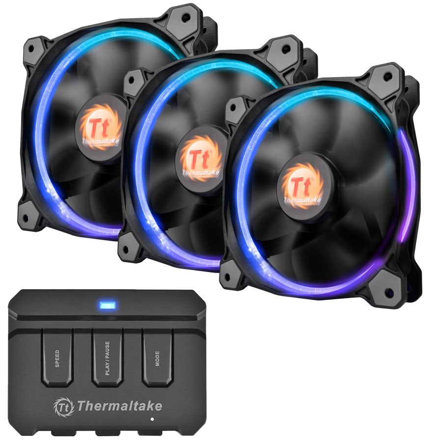 Thermaltake Riing 256Color LED 3Pack 120mm 256カラー7段階LEDモード切替対応  (CL-F042-PL12SW-B)