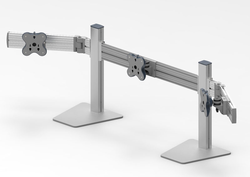 Belltech 3台水平垂直可動式モニターアーム (EGFS-4513W)