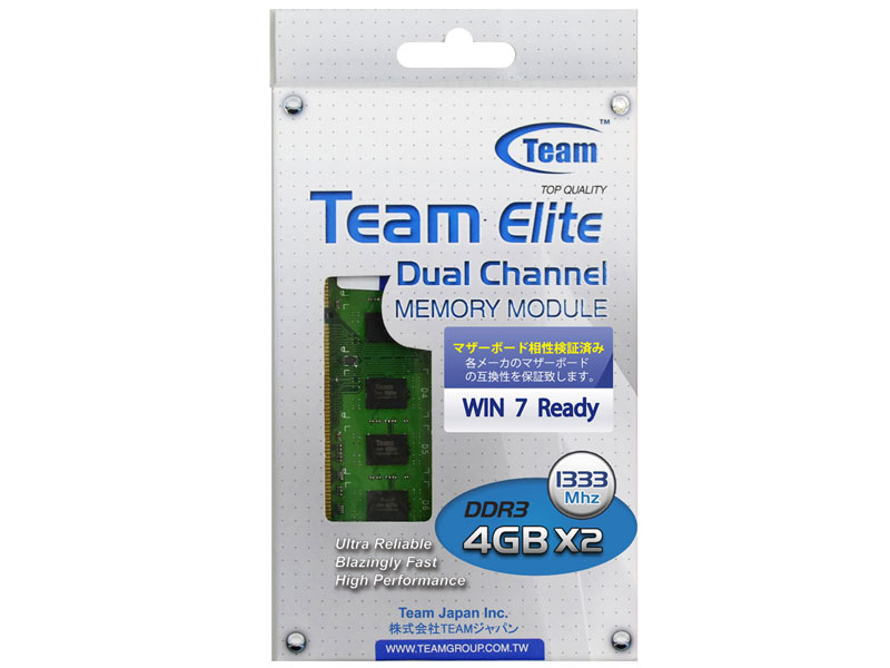 Team 8GB(4GB×2) DDR3 1333MHz(PC3-10600)  (TED38192M1333C9DC)
