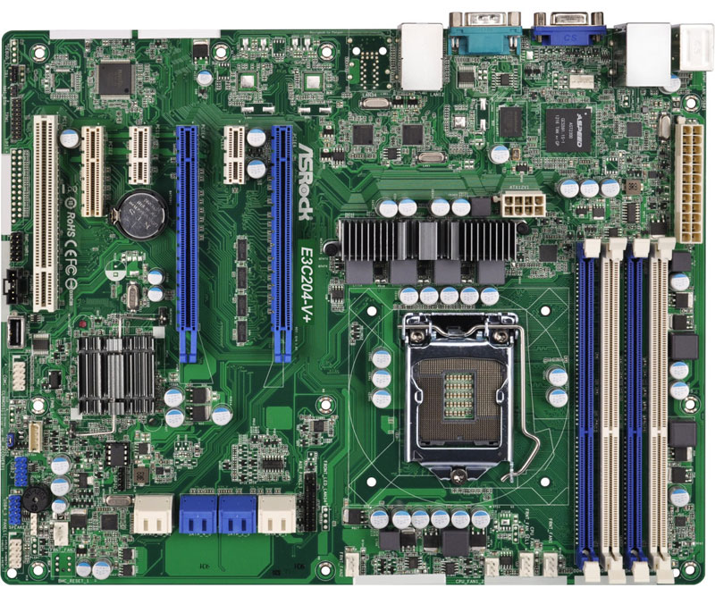 ASRock Rack LGA1155、Intel Xeon E3-1200 v2対応ATXサーバー向けマザーボード (E3C204-V+)