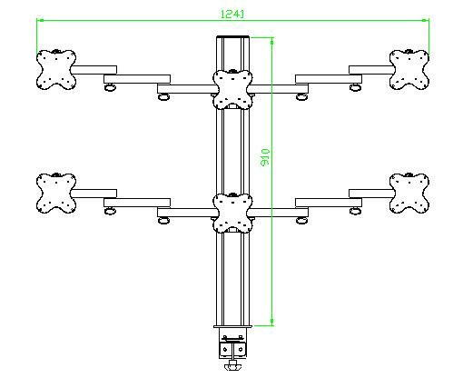 Belltech 6台モニター取付 水平2段のマルチディスプレイアーム (EGL-8036)