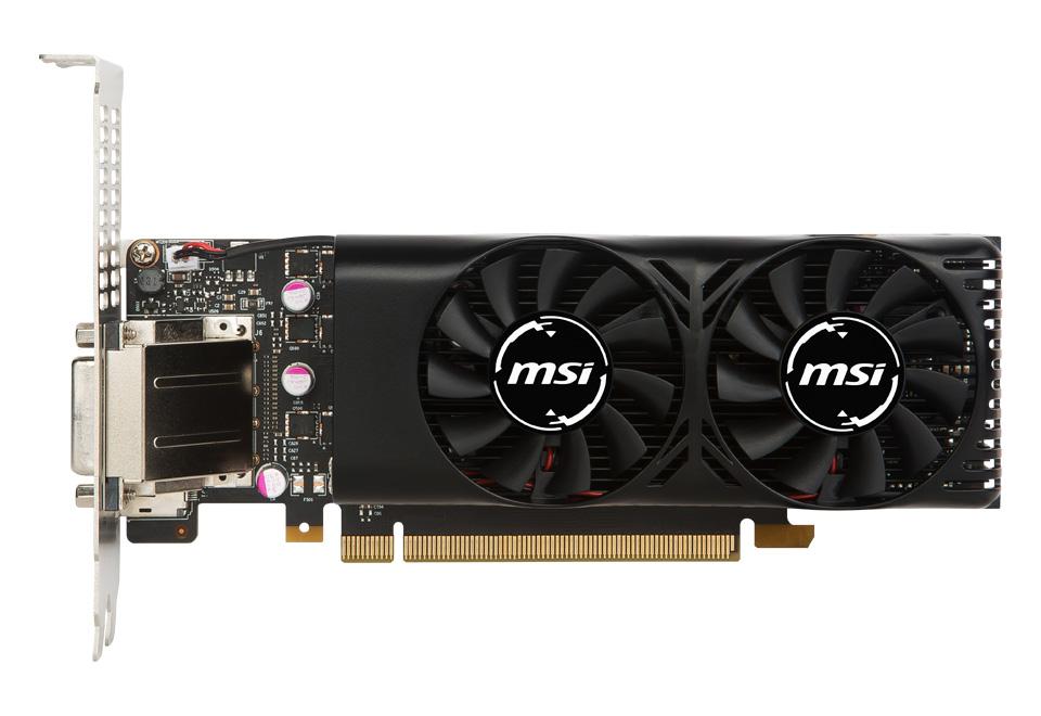 MSI GeForce GTX 1050 Ti 4GT LP デュアルファン搭載ロープロファイル準拠ビデオカード