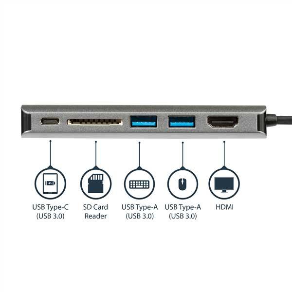 StarTech.com USB Type-Cドック HDMI対応マルチポートアダプタ 4K Mac/Windows対応 SDカードリーダ 2x USB-A/ 1x USB-C 60W PD 3.0|DKT30CSDHPD3