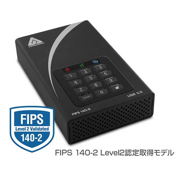 Apricorn Aegis Padlock DT FIPS - USB 3.0 Desktop Drive 暗号化セキュリティに特化した3.5インチ外付けHDD FIPS140-2 Level2認定取得モデル|ADT-3PL256F-18TB(R2)