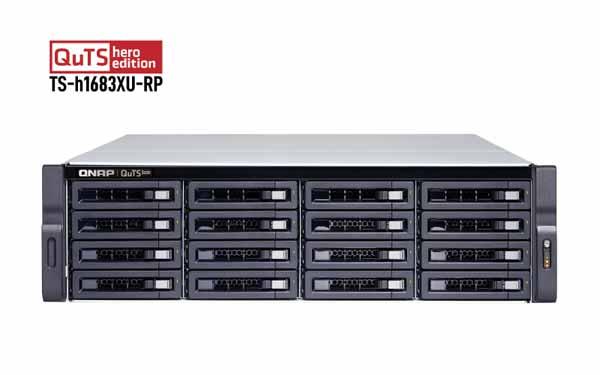 QNAP QuTS hero NAS 3U/16ベイ/E-2236 3.4GHz/128GBメモリ/2×10G SFP+2×10G RJ45+4×1G LAN|TS-H1683XU-RP