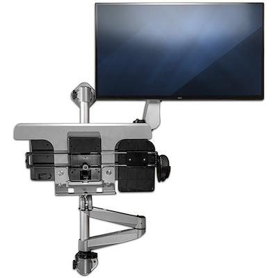 StarTech 壁面固定用液晶モニターアーム&キーボード・マウストレイ 1画面対応 多関節アーム ウォールマウント昇降デスク|WALLSTSI1