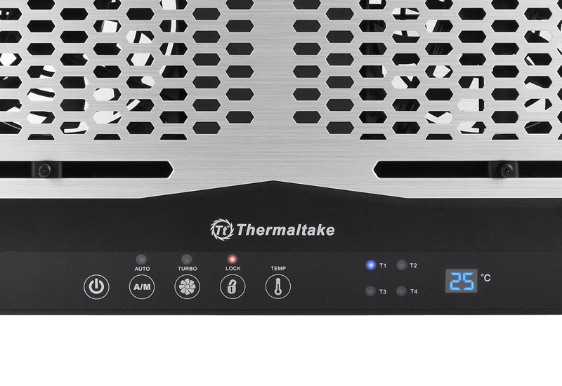 Thermaltake 4つの温度センサー、コントロールパネルを搭載 Massive TM/NB cooler/17/120mm*2/Al+Plastic/Black (CL-N002-PL12BL-A)